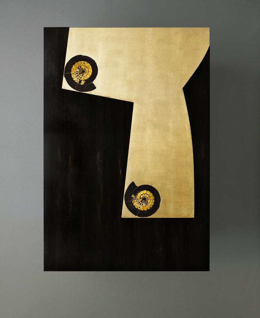 Tavolino in ebano Gabon con ammoniti - vista superiore